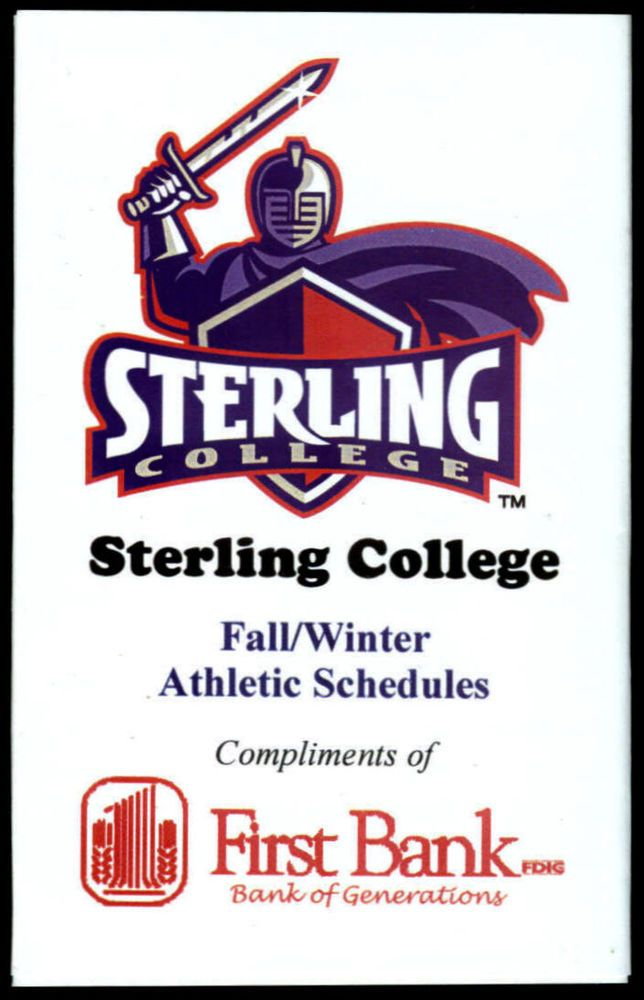 2010 STERLING COLLEGE WARRIORS FIRST BANK FALL WINTER POCKET SCHEDULE FREE SHIP #Schedule