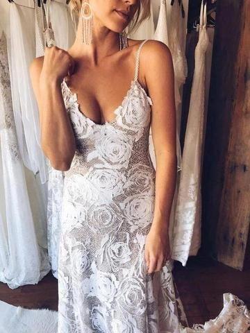 Off Shoulder Vintage Lace Mermaid Cheap Wedding Dresses Online, Long S – LoverBridal #backlessweddingdress