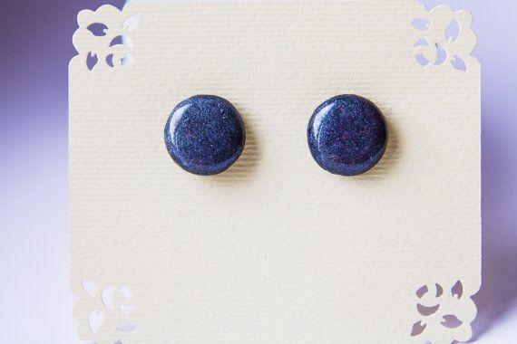Black and violet sparkle studs black sparkle studs от JewelryBest