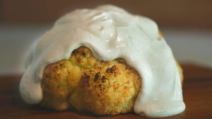 C is for Cauliflower... Rachael Ray's Whole Roasted Cauliflower with Roasted Garlic Ricotta Cream Sauce