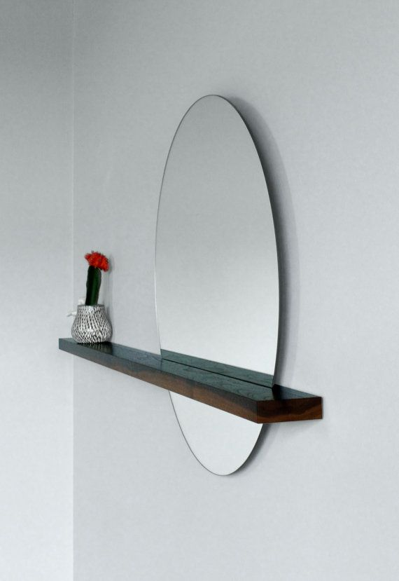 "Rise/Set Mirror, 24"" round mirror and solid wood shelf, Mirror on LEFT Side"