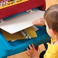 http://www.shopplaypens.co.za/product/art-easel-desk/A perfect place to create a masterpiece with room to share!The Art Easel Desk is a desk with plenty of storage, plus a sturdy easel with a supply shelf and art clip.• Dry erase board includes clip to hang paper for other projects• Desk with workspace for creative projects• Storage area above desk holds art supplies (not included) for easy access• Base ensures stability while in use• Maximum weight: 50 lbs (22.7)• Minimal adult assembly…