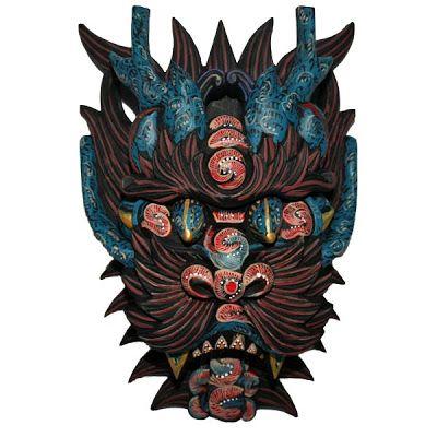 Japanese Dragon Mask Japanese tribal mask o...