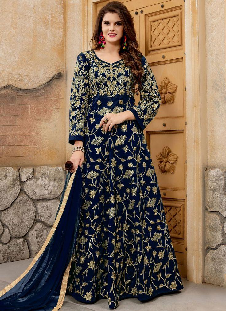 Buy salwar suits, salwar kameez and designer salwar suits online. Order this simplistic embroidered, lace and resham work floor length anarkali suit for festival and party.