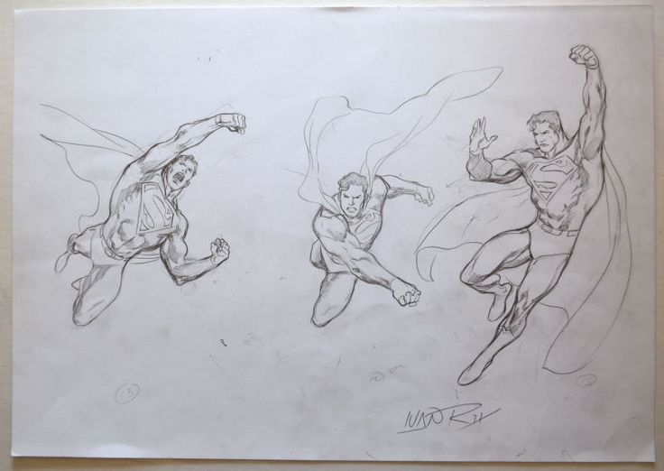 ORIGINAL ARTWORK - SUPERMAN MODEL SHEET 5 w 3 ACTION POSES by Artist Ivan Reis | eBay