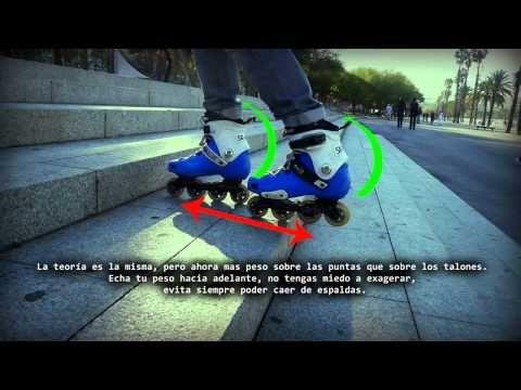 Tutorial cómo bajar escaleras con patines en linea - YouTube