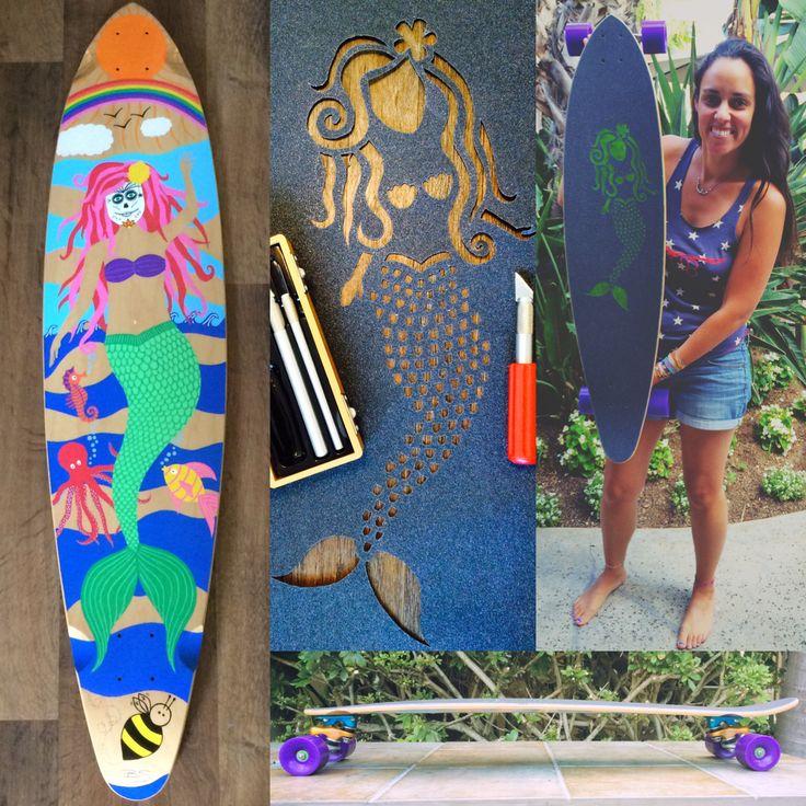 #Painted my 1st #longboard w/ @poscagallery #paintpens & #custom #griptape - I even #built it!!! (w/help from @rockyandersonexplorer)   #Bee #art #artist #artwork #creative #handmade #paint #draw #diy #mermaid #sunshine #rainbow #seahorse #fish #octopus #GullwingTrucks #sidewinder #OJwheels #skateboard #skate #cruise #carve  @ojwheels @gullwingtruckco
