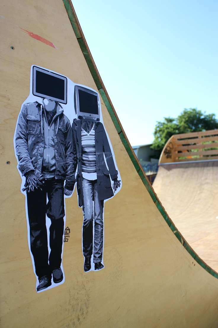 Digital Generation by #ellastreetart. Sticker on wood. Location: #skateboard #pipe at #Cinodromo marconi in #Rome