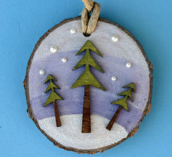 Wooden pine tree on wood birch tree slice, Christmas ornament, painted, tree and snow, landscape, winter, night, moon and stars