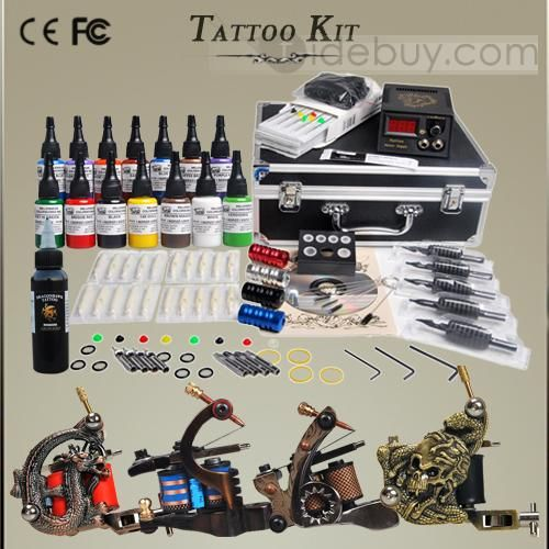 Professional Tattoo Kit 4 Top Machine 14 Mom's Ink and LCD Power Set DIY-150