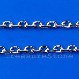 Chain, brass, rhodium-plated, 2mm. TreasureStone Beads Edmonton