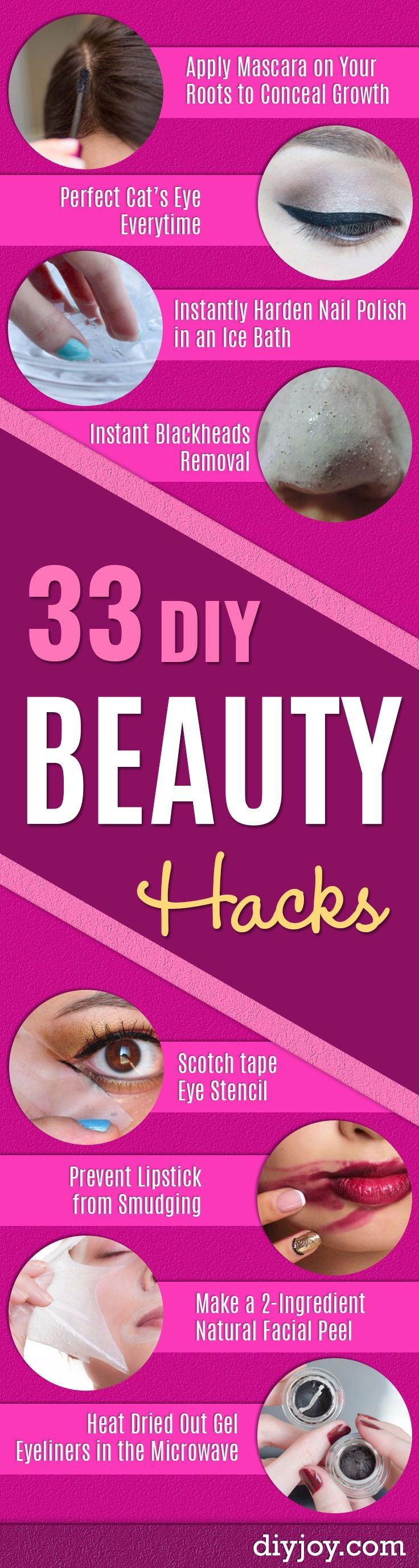 DIY Beauty Hacks - Cool Tips for Makeup, Hair and Nails - Step by Step Tutorials for Fixing Broken Makeup, Eye Shadow, Mascara, Foundation - Quick Beauty Ideas for Best Looks in A Hurry http://diyjoy.com/diy-beauty-hacks