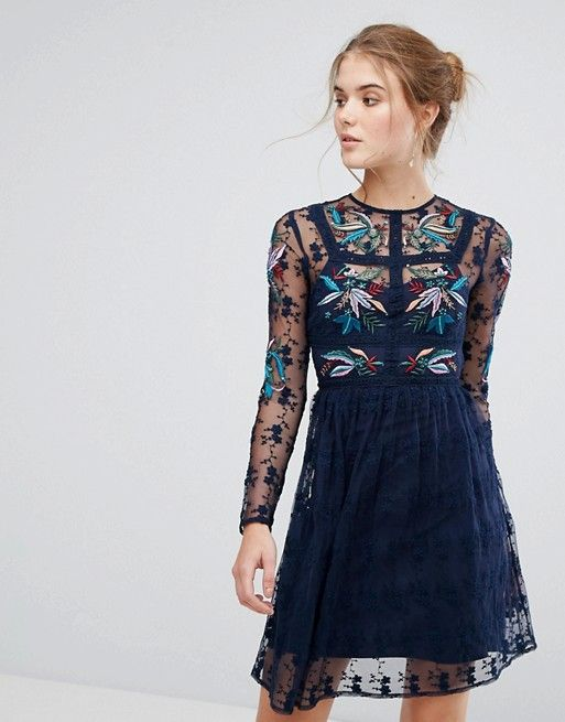 89b5af699d9 Frock And Frill Floral Embroidered Skater Mini Dress With Lace Trim