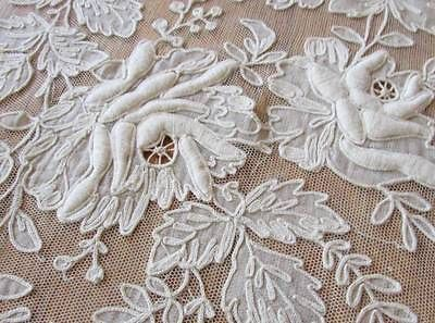"""OMG! ROSES on French Net Tambour Embroidered LACE Curtain 66 x 49"""" Antique c1900"""