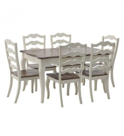 S_7 WOODEN DINING TABLE W_6 CHAIRS IN BROWN_WHITE COLOR