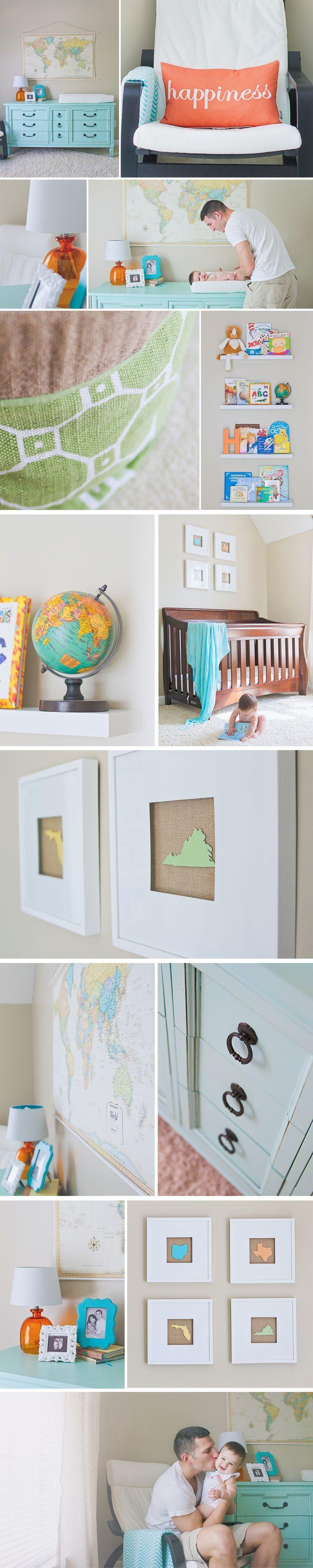 turquoise and orange, travel themed gender neutral nursery | Jenna Miller Photography | Hampton Roads, VA