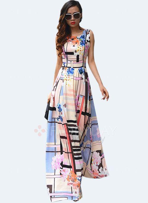 FlorydayTrauzeugin Elegant Kleider kleid Blumen Ärmellos Maxi kiOPZuX