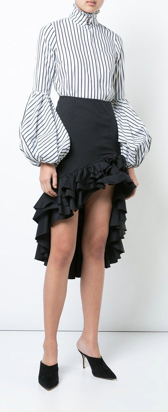 Caroline Constas Ruffle Trimmed Asymmetric Skirt