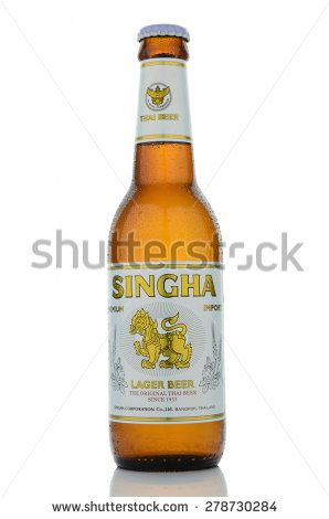 KWIDZYN, POLAND â?? MAY 16, 2015: Singha beer isolated on white background. Singha is lager beer produced by Boon Rawd Brewery.