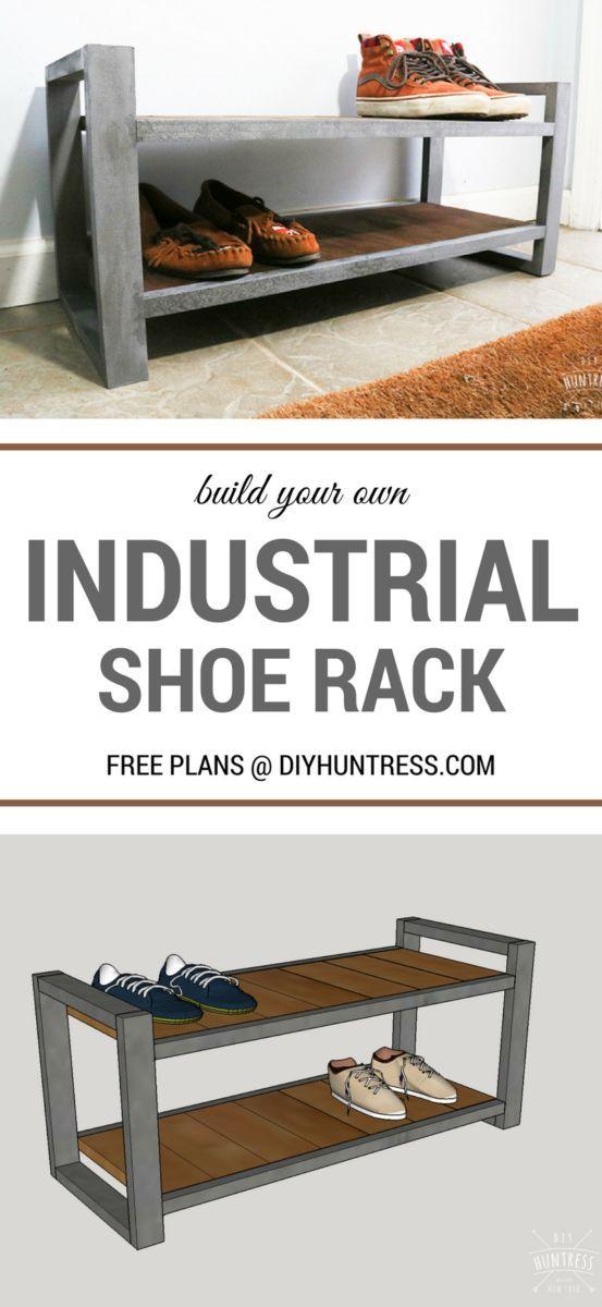 DIY Woodworking Ideas #DIY West Elm Knock Off - Industrial Shoe Rack. FREE PLANS!