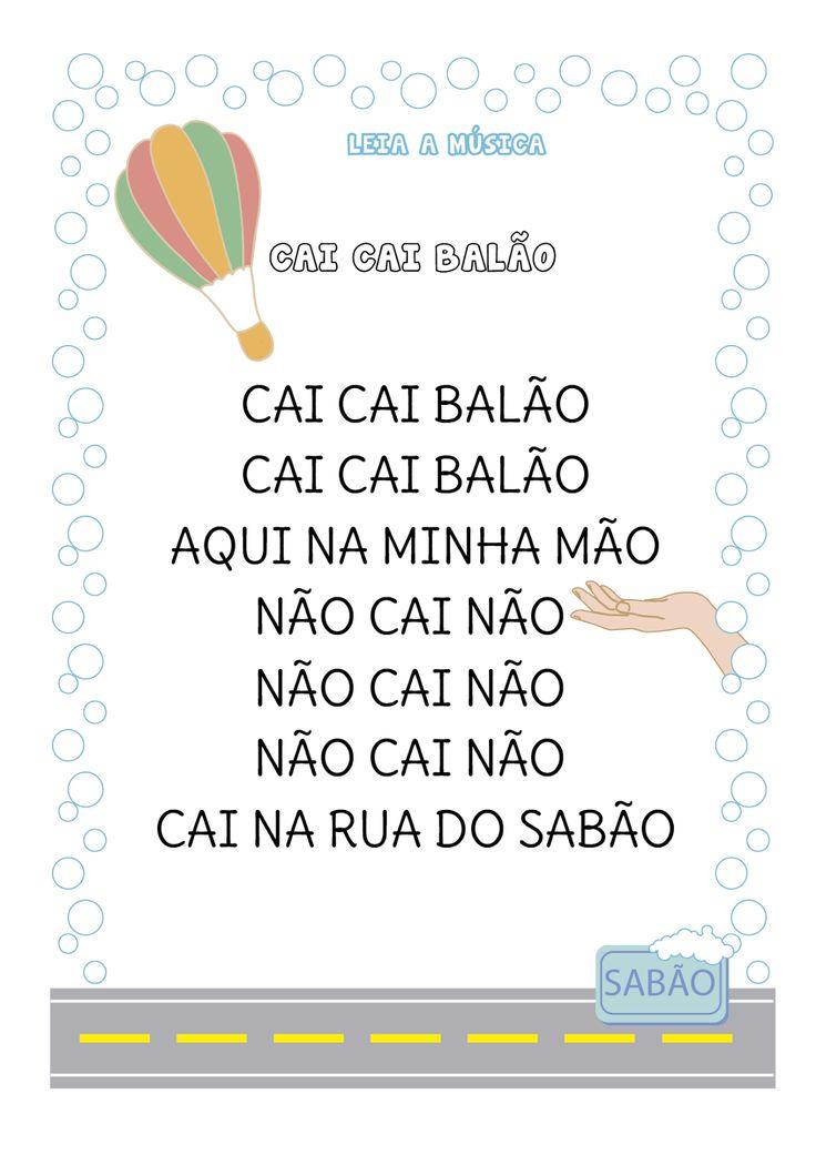 Esta semana vamos trabalhar com a canção popular Cai cai balão.   Primeiro mostramos a escrita da música e cantamos juntos. Neste momento p...
