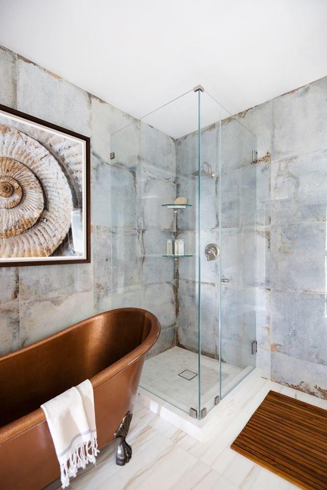 Mojave Blue Stone Tile Bathroom Clawfoot Tub Bathroom Copper Clawfoot Tubs