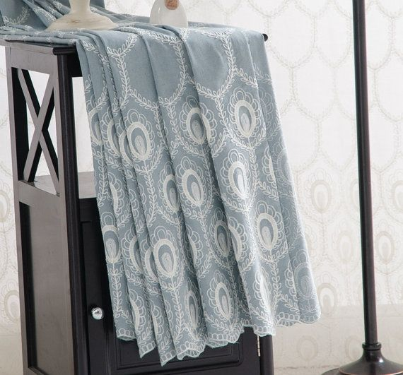 """____90x96___$76/pair_____     ______Made_in_China_______    A_Pair_of_Custom Curtains Made to Order Up to 104""""L Embroidered Off White Cotton Thread Feather Pattern On Cotton Polyester Blend Fabric. embroidery pattern sheer"""