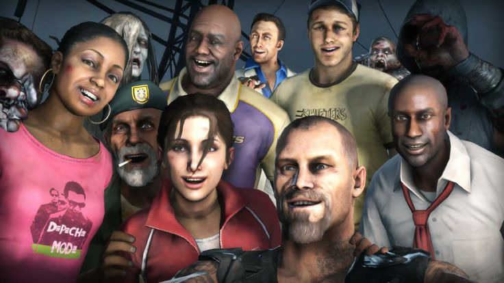 Left 4 Dead 1 and 2 Selfie. Rochelle, Bill, zoey, coach, Francis, Nick, Ellis and Louis.