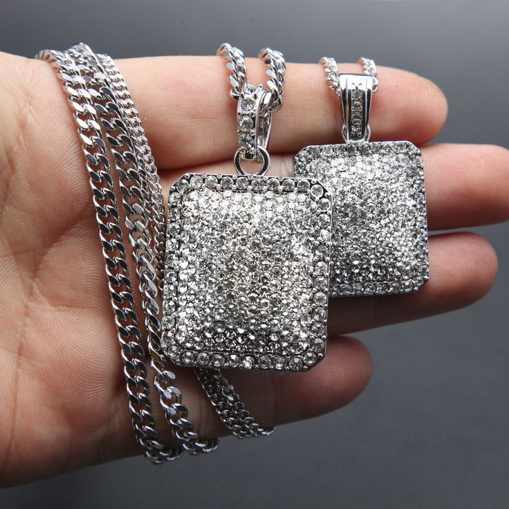 18K White Gold Lab Diamond Cuban Chain Link Micro Pave Miami Iced Out Necklace