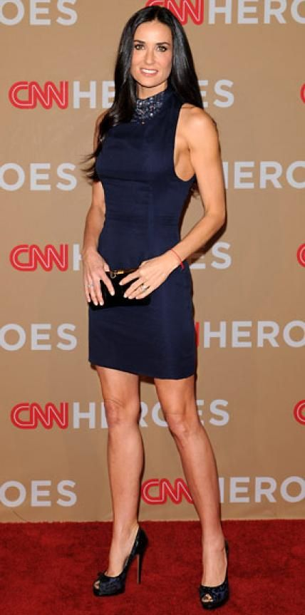 Look of the Day › November 22, 2010 WHAT SHE WORE For the CNN Heroes gala in Los Angeles, Moore chose a bejeweled navy Marios Schwab sheath, leopard-print Casadei peep-toes and a snakeskin clutch.