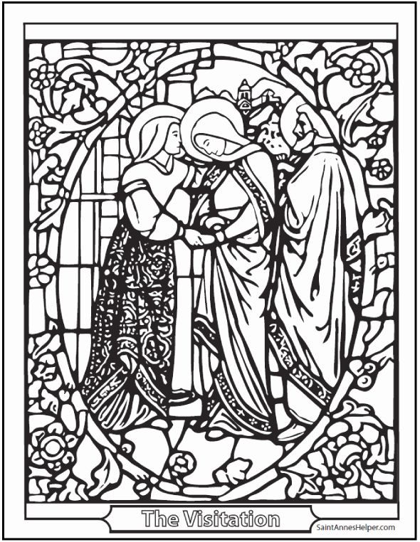 Mary And Elizabeth Coloring Page Best Of Visitation Stained Glass Coloring Page In 2020 Coloring Pages Printable Coloring Printable Coloring Pages