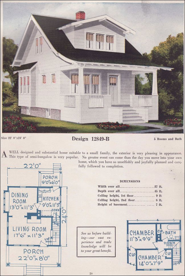 "Design 12849-B 1925 C. L. BOWES CO | By 1925, some streamlining of the bungalow style had started to occur. Rafter tails and knee braces, previously more elaborate, became simpler and more ""modern."" This tiny house has just two small bedrooms and a bath on the second floor and few extravagances, save the centrally located fireplace."
