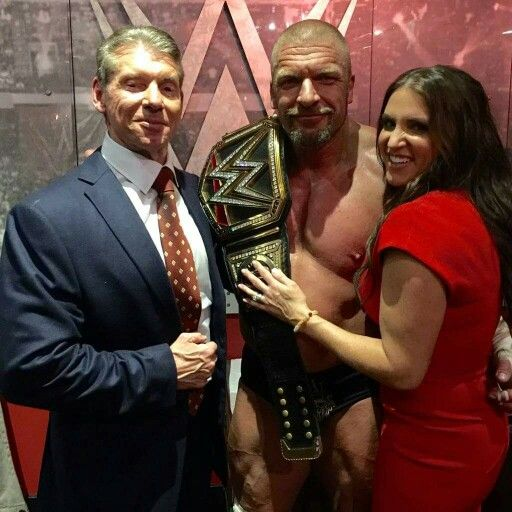 Vincent McMahon celebrating with His Daughter Stephanie & Son-in-law Triple H