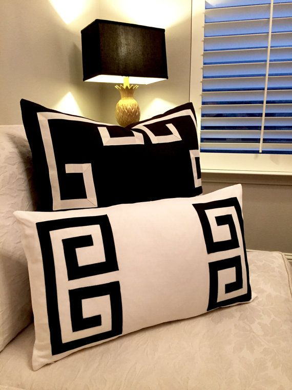 ~Get the look from award winning Home Stylists with this stunning off white with black trim Greek Key Fretwork pillow covers~  * Convo me for your custom color request---pricing is the same for custom requests.  * Same high-end home decor weight fabric on both sides.  * This listing is for ONE pillow cover.  * All pillow covers are made 1 smaller than listed to ensure a nice fit. This lumbar pillow cover is made to fit a 16x26 pillow insert, but measures approx. 15x25. * Home decor weight…