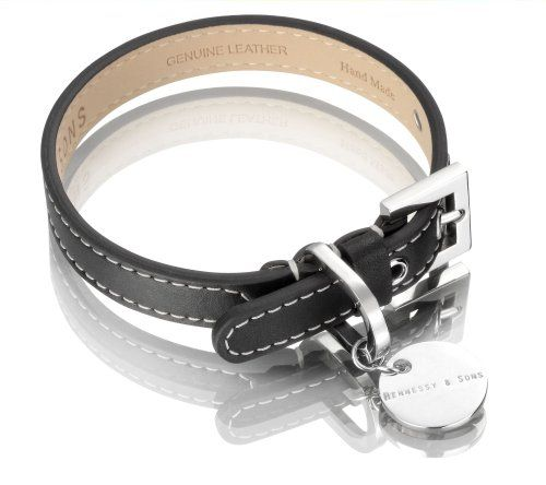 Special Offers - Hennessy Medium Leather Dog Collar Black with White Stitching - In stock & Free Shipping. You can save more money! Check It (April 04 2016 at 11:57PM) >> http://dogcollarusa.net/hennessy-medium-leather-dog-collar-black-with-white-stitching/