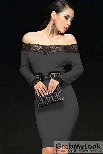 GrabMyLook  Lace Off Shoulder Long Sleeves Skirt Party Cocktail Dress