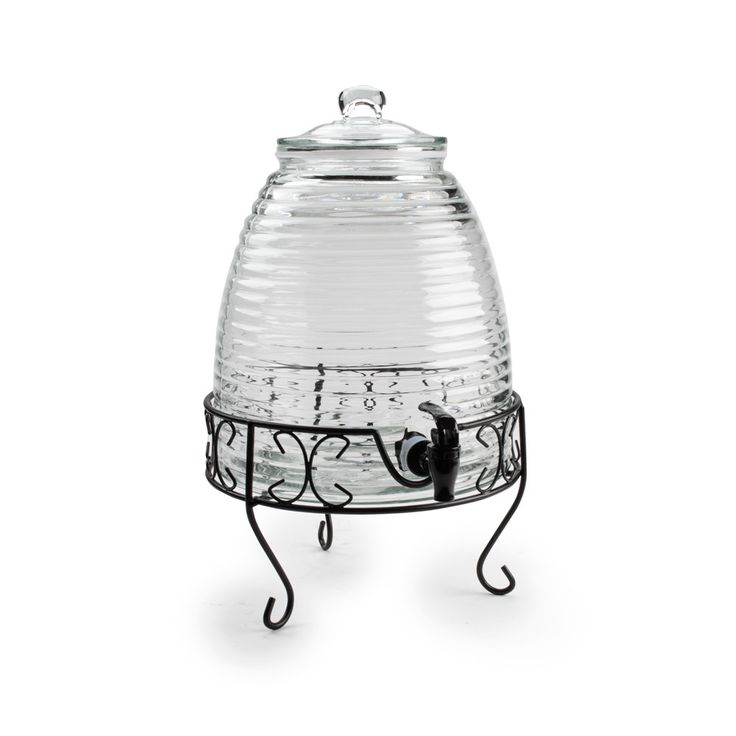 """Core 2.4 Gallon Glass Beverage Dispenser with Metal Stand - 12"""" x 10 1/2"""" x 19 1/2"""""""