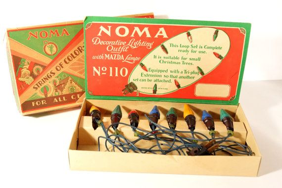 Vintage / Antique NOMA Christmas Lights in Original box by ThirdShift - Use the box as a holiday display piece! The graphics are great. String the lights around a window or on your tree for that great old fashioned look.