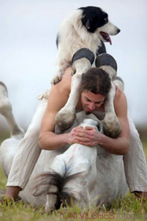"""Young Man ~ """"My Two Loves ~ My Horse And My Dog!"""""""