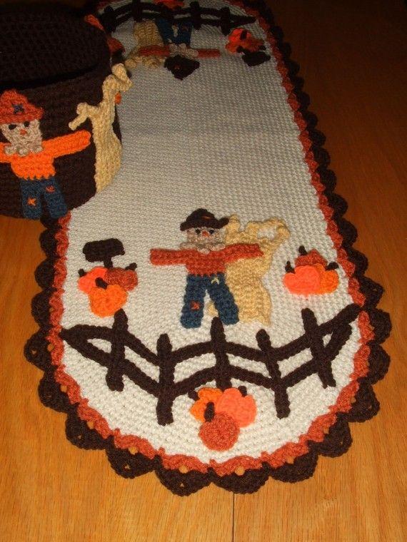 Crochet Pattern Pumpkins For Sale Tablerunner by CrochetVillage, $7.99