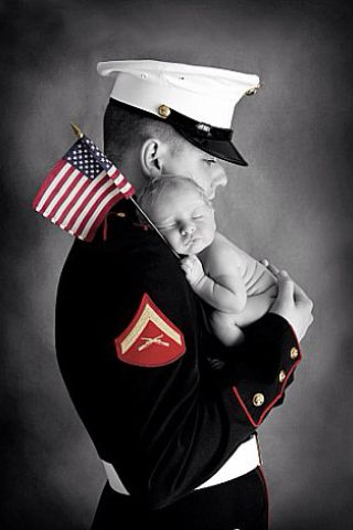 Since both of my kids are in the military, I will have to do a picture of them in uniform with their babies some day.