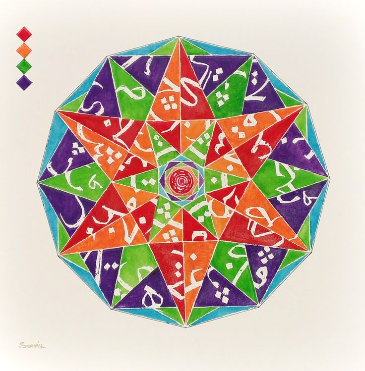 Fracture II- Fragments of Arabic based alphabets in multicolored geometrical pattern .