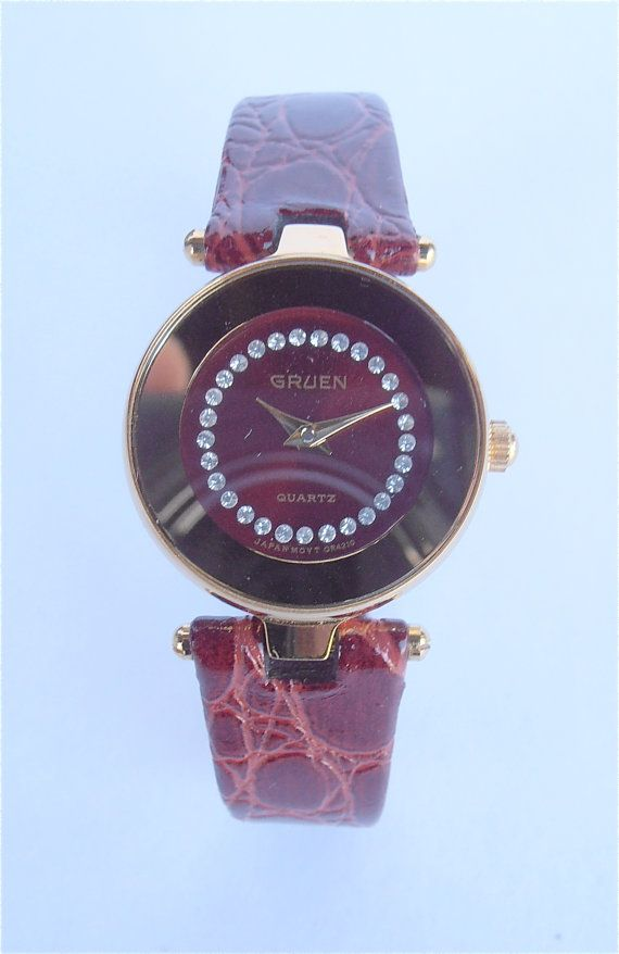 truly a beautiful oxblood color Vintage Gruen Ladies Fine Watch available #VillaCollezione on #Etsy