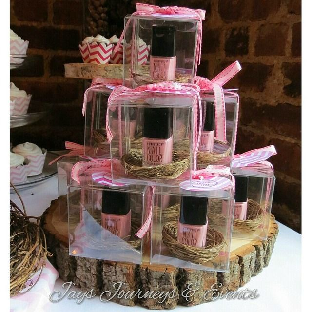 I love this ideas of giving nail polish as a baby shower party favor. See more party ideas at CatchMyParty.com. #babyshower #partyfavor