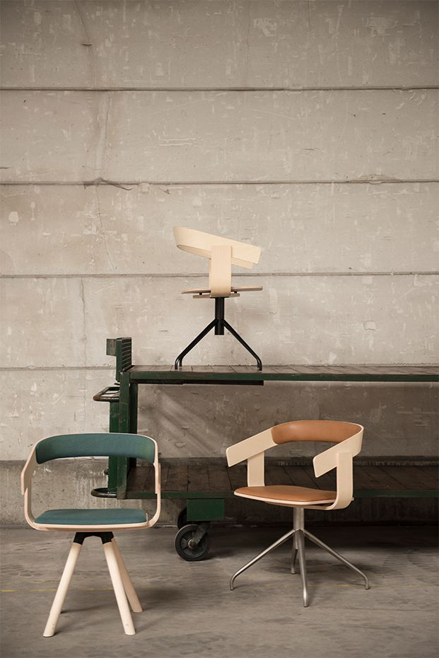 Zenith Interiors: BuzziFloat,  a minimal chair to maximise space. The chair is made from a plywood veneered seat and bent plywood back. BuzziFloat is available with three base options: Float, solid timber legs; Float Cross, metal 4 star pedestal on glides and Float Plus, metal 4 star pedestal on castors. Also available with optional upholstered seat and inside back.