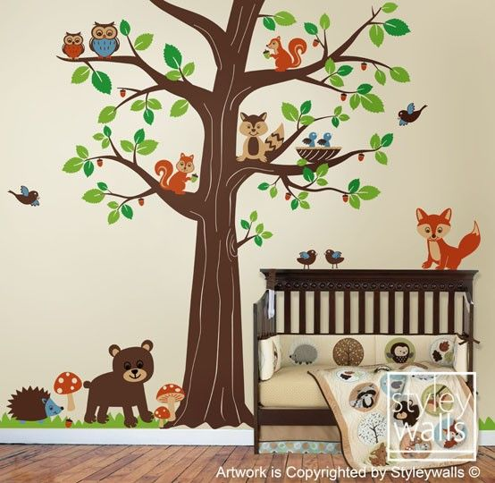 Woodland Animals Wall decal Forest Animal Friends Huge Tree Decal Owls Birds Nursery Vinyl Wall Decal Sticker Children Baby Room Wall Decal. $165.00, via Etsy.