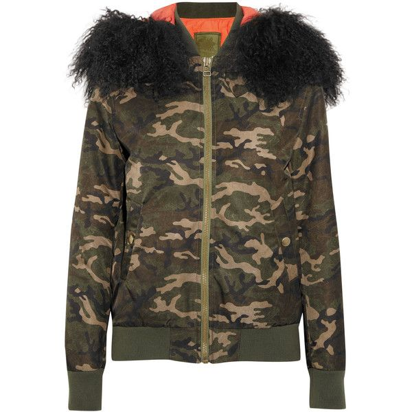 MR & MRS ITALY Shearling-trimmed camouflage-print canvas bomber jacket ($1,740) ❤ liked on Polyvore featuring outerwear, jackets, army green, army bomber jacket, camouflage jacket, army jackets, olive jacket and canvas jacket