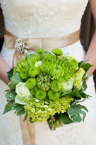 PRETTY GREEN WEDDING Bouquet WITH DESSY GROUP DRESSES- For more amazing finds and inspiration visit us at http://www.brides-book.com