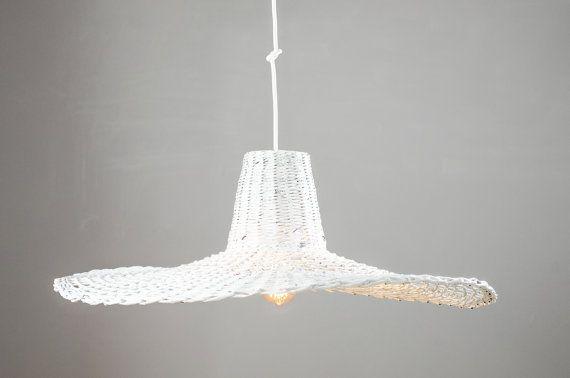Oryginal white pendant light Hanging designer eco lamp  Ceiling handmade lamp Unique Big Decorative lamp Living Dining room Minimal Misia