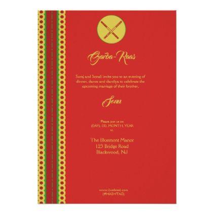 Bollywood Indian Garba Traditional Border Hindu Card - marriage invitations wedding party cards invitation